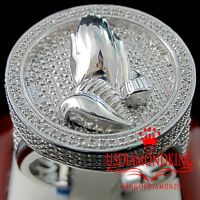 Mens Real Genuine Diamond Praying Hands Pinky Ring Band 10K White Gold Finish