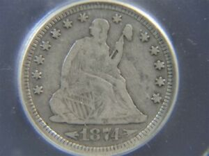 1874-S US Liberty Seated with Arrows 25c Quarter COIN ICG graded F-12
