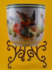 Ancien cache pot aux oiseaux  Porcelaine de Paris sur Support métal Napoléon III