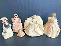 "Vintage Cornhusk Doll Collection 5 Handmade Dolls 7"" & 3"" Ships FREE"