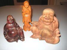 Lot of 3 Vintage Figural Japanese Carved Wood Netsuke Buddha Figures Folkart