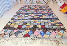 Large Moroccan Vintage Boucherouite Double Sided Handmade Authentic Tribal Rug