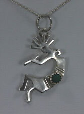 Sterling Silver Kokopelli Small Round Malachite Pendant / Necklace