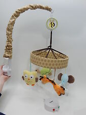 Triboro Tan Just Born Musical Mobile Zoo Animals Elephant Giraffee Owl Turtle