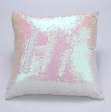 Sequin Glitter Pillow Case Cover Reversible Magic Stress Relief Pearl & White