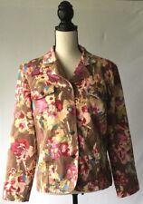 christopher & banks Denim Floral Jacket Brown Womens Size Large