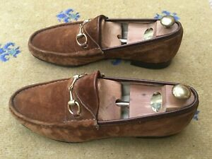 Gucci Mens Shoes Tan Brown Suede Horsebit Loafers UK 12 US 13 EU 46 Vintage