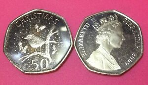 50p Fifty Pence Gibraltar Coin Uncirculated Robin on Tree Christmas 2009