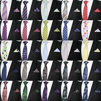 MEN'S BRIGHT WEDDING PARTY NECKIE TIE AND POCKET SQUARE HANKY HANDKERCHIEF SET