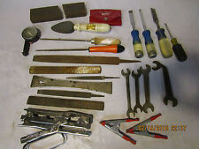 large lot of vintage tools wrenches chisels files stapler Stanley butt gauge etc