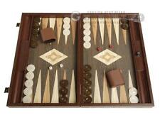 19-inch Wood Backgammon Set - Wenge Board with Printed Field and Side Racks
