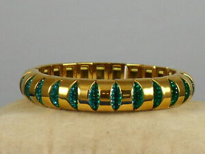 Kate Spade Gold SLICED SCALLOPS Green Pave'  Stretch Bracelet WBRUH799 $88