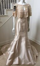 $1198.00 NWT JVN by Jovani Lace Capelet Mermaid Mikado Champagne Gown Size 6