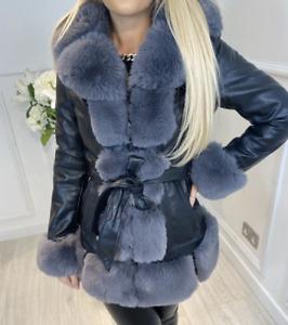 Womens Ladies Short Faux Fur PU Leather Tie Waist Zip Up Short Swing Jacket Coat