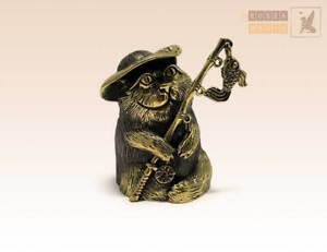"""Cat Fisher"" Souvenir Bell  Figure Statue BronZamania B1284"