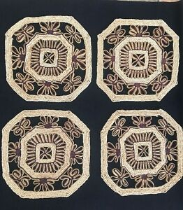 Vintage Retro 4 X Wicker Straw Woven Hexagonal Table Placemats Brown