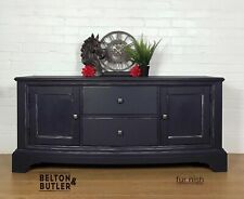 Low level navy blue sideboard / entertainment unit With Cupboards And Drawers