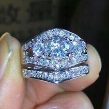 Certified 3.20 Ct Moissanite Bridal Set Engagement Ring in 14k White Gold Over