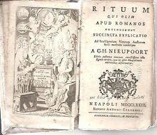 libro antico 1773, Nieupoort Willelm Hendrik, Rituum qui olim apud Romanos