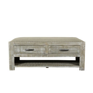"""46"""" L Miles Bench Coffee Table Solid Wood Rustic Grey Fabric Seat 3 Drawers"""