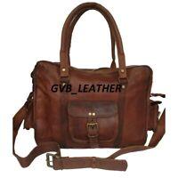 Handmade Men's Leather Vintage Luggage Laptop Bag Satchel Suitcase Messenger