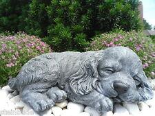 Steinfigur Hund schlafend, Gartenfigur Gartendeko Geschenk Figur Tierfigur