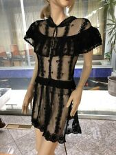 Lim'S Vintage Lovely Intricate and Delicate Hand Crochet Mini Dress Color Black