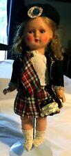 "Vintage Doll Hard Plastic 12"" Original Scottish Outfit"
