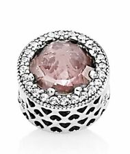 Authentic Pandora Hearts Blush Pink Crystal CZ 791725NBP Charm Bead Pouch