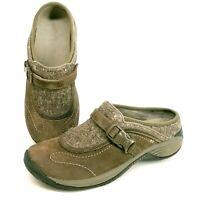 MERRELL Women's 8 Encore Sidestep Suede & Wool Mule Shoes Stone Brown J66626