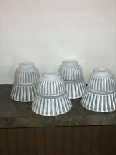 4 Vintage Ribbed Bell Glass Ceiling Fan Sconces Set Of 4 Thumb Screw