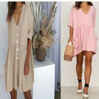Party Dress Blouse Women's Loose Solid Dresses Short Sleeve Summer Ladies Short