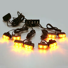 LED Amber Flashing Emergency Beacon Warning Light 8pce set Car Truck Lorry Van