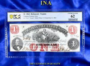 INA Virginia Treasury $1 Obsolete Currency 1862 Civil War PCGS 62 Small Pinhole