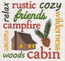 CABIN SQUARE NEW SET OF 2 BATH HAND TOWELS EMBROIDERED BY LAURA