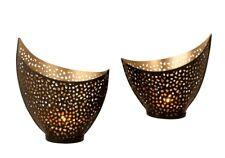Windlichthalter Teelichthalter in Sichelform 2 Größen schwarz/gold 12x15 cm