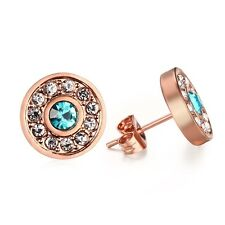 18K Rose Gold Plated Ear Studs 12MM Women's Stainless Steel CZ Inlaid Earrings