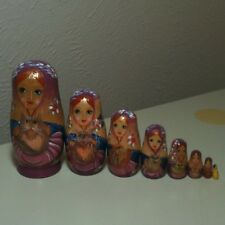 Russian Lady With Cat 8 Piece Nesting Dolls Hand Painted