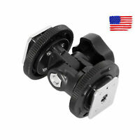 Dual Hot Shoe Mount Adapter Holder Bracket Fit Video Light Stand Camera US