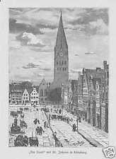 Lüneburg St. Johannis Am Sande HOLZSTICH von 1880