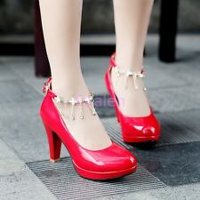 HOT Womens Round Toe Mary Jane Heel Tassel Metal Ankle Strap Leather Shoes Pumps