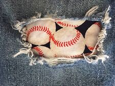 "Set of 2 Baseball 4"" x 4"" Iron on Peek-A-Boo Jean Patches"