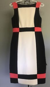 Maggy London Black White & Coral Block Lined Knee Length Dress EC Women 8