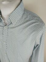 Mens Ted Baker Geometric Floral Shirt White Green Xl Size 5 44 Chest Vgc