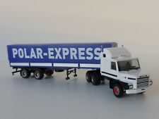 Scania 142 Hauber 6x4 trailer de lona polar Express 1/87 Herpa 307512 Finlandia