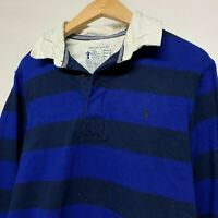 Mens JOULES Jersey Rugby Polo Long Sleeve Shirt Blue White Stripe S Small