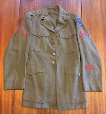 WW2 USMC Corporals Dress Jacket, 1st Marine Guadalcanal and Dragon Cuff Patches