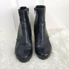Clarks Artisan Black Leather Zip Ankle Boots UK 5 EU 38 Womens Heel