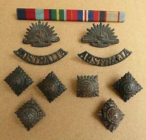 WW11 AUSTRALIAN RISING SUN COLLARS, SHOULDER TITLES,  OFFICER PIPS & MEDAL BAR