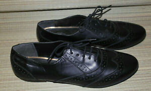 WOMENS BLACK LACE UP LEATHER BROGUES OXFORD FORMAL SHOES SIZE:8/42(WS53)